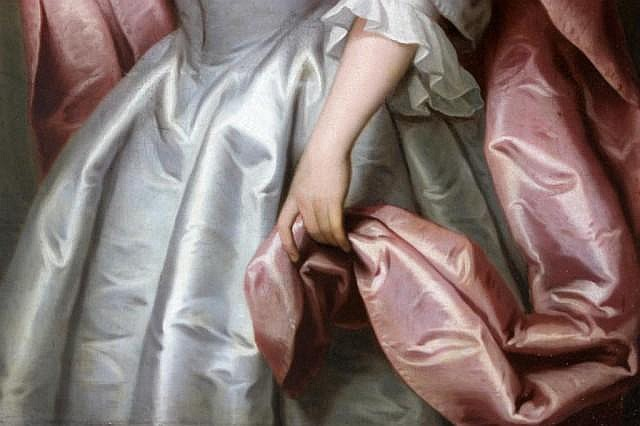 Detail from a portrait of a lady painted in 1742 by the Norfolk artist John Theodore Heins of Norwich