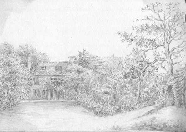 Pencil drawing of Fincham Rectory, Norfolk. 1830ish