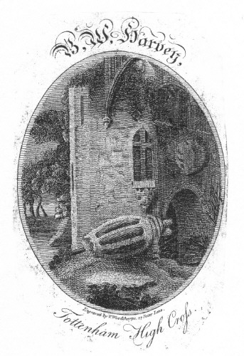Bookplate of BW Harvey Tottenham High Cross Engraved by V Woodthorpe, 27 Fetter Lane