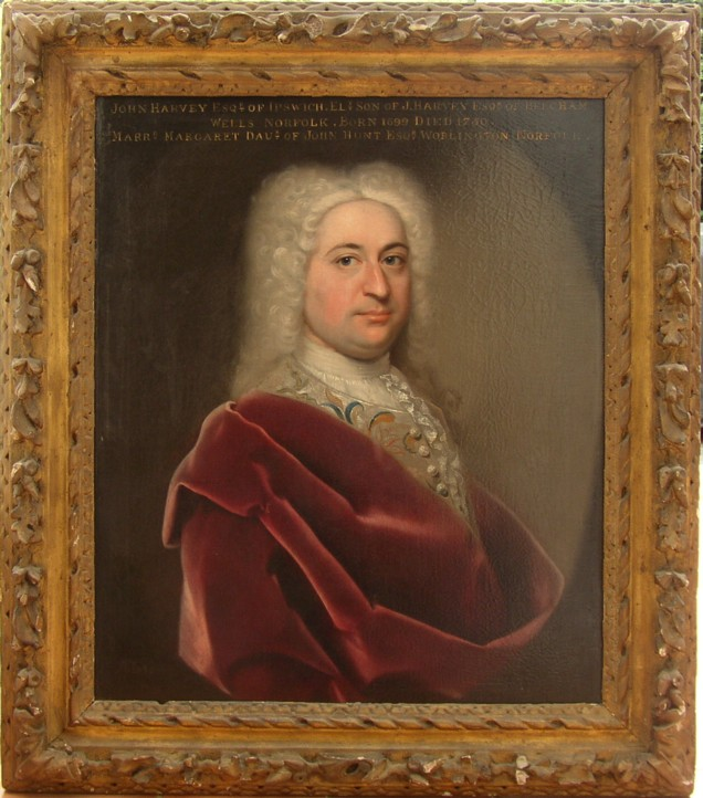 Portrait of John Harvey 1699-1750 of Ipswich who married Margaret Hunt.  Painted by John Theodore Heins of Norwich.