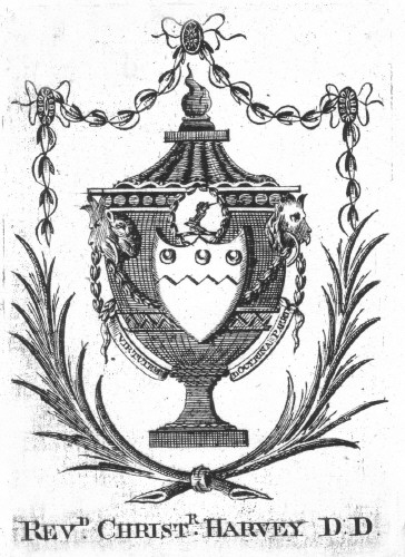 Bookplate of Rev Christopher Harvey DD Barrister at Law, of Bargy Castle was born 1740 died 20 April 1796.