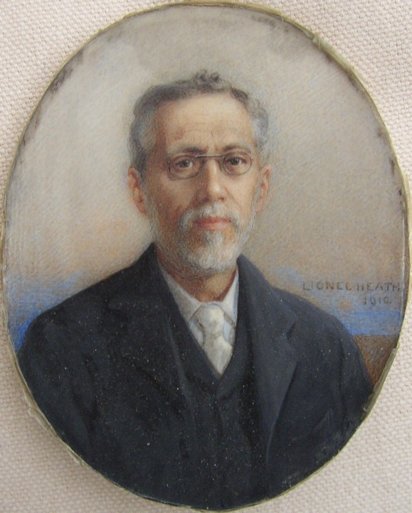 Miniature Portrait of a Man Wearing Specticales. Painted by the artist Hugh Lionel Heath (1871-1938).  Signed and dated 1910.