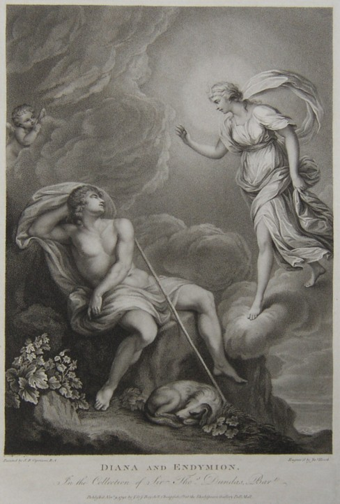 Engraving of Diana and Endymion from the drawing by the artist Giovanni Batista Cipriani R.A.  Engraved by the engraver James Heath ARA.  Published by J & J Boydell in 1792