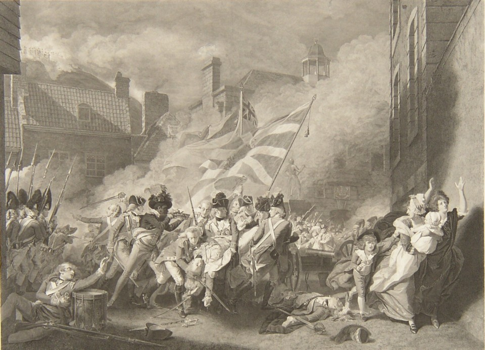 Engraving of The Death of Major Pierson from the picture painted by the artist John Singleton Copley RA. Engraved by the engraver James Heath ARA Published by John and Josiah Boydell