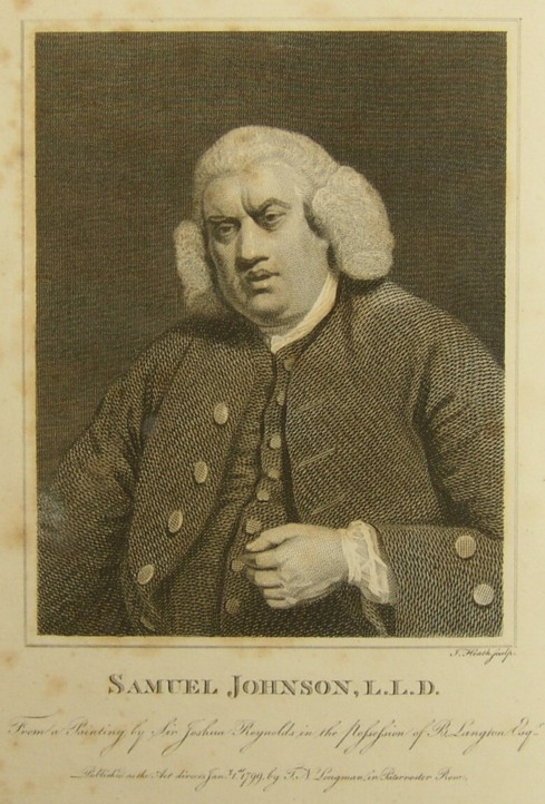 Portrait of Samuel Johnson engraved by the engraver James Heath from a painting by the artist Sir Joshua Reynolds