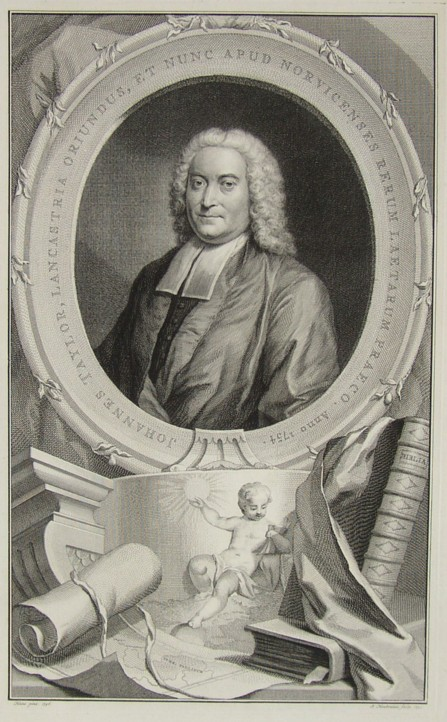 Portrait of John Taylor1694-1761 Unitarian minister at Norwich Norfolk From a painting by the artist John Theodore Heins Painted in 1746 Engraved by Jacob Houbraken 1754.