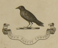 Bookplate of Henry Helsham-Jones.  'Deus Pascit Corvos' which translates; God Feeds the Ravens.