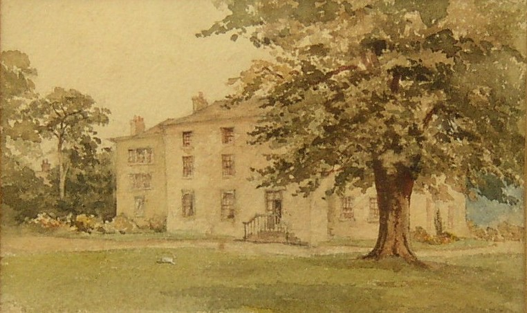 Picture of Linley Hall, Linley Wood, Talke, Staffordshire, England (Believed to have been painted in the late 1800s).