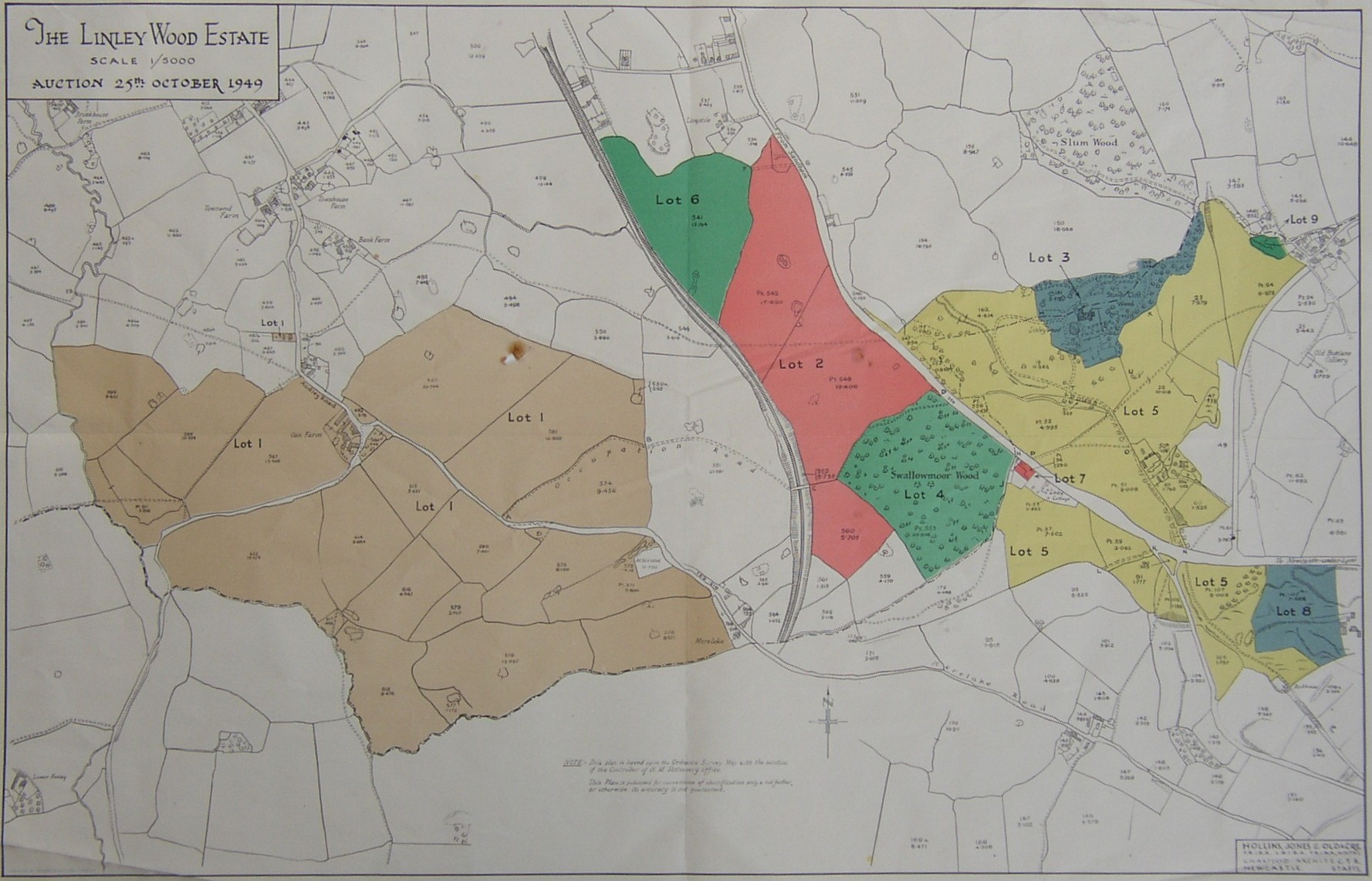 Map of the Linley Wood Estate, Talke, Staffordshire Produced for the sale of the estate in 1949 Home of the Caldwell, Marsh-Caldwell and Heath-Caldwell family