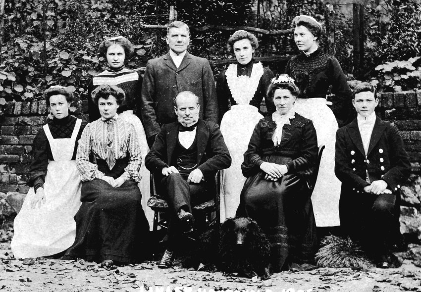 Servants at Linley Wood in 1905 during the time of the Miss Marsh-Caldwells