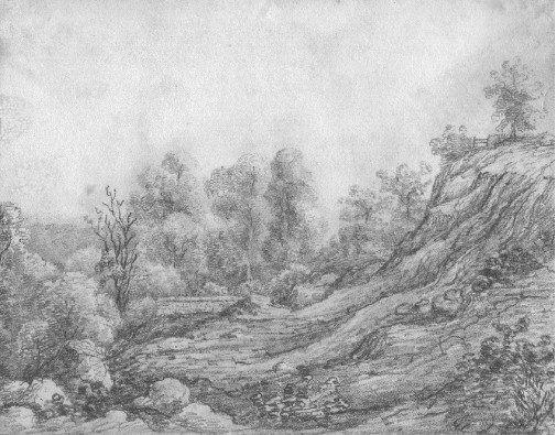 Pencil sketch of Stone Quarries at Bath. 1827