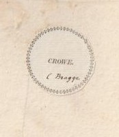 Bookplate of Crowe book plate ex-libris
