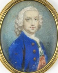 Miniature Portrait of an unknown Gentleman painted in 1747 by the artist Gervase Spencer 1715?-1763 painter based in London