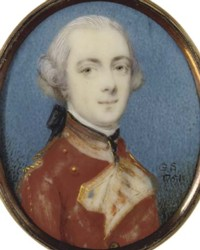 Miniature portrait of an unknown Soldier painted by the artist Gervase Spencer 1715?-1763 painter based in London