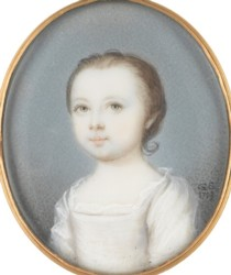 Miniature portrait of an unknown girl painted by the artist Gervase Spencer 1715?-1763 painter based in London