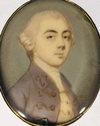 Miniature portrait of a gentleman painted by Gervase Spencer in 1763. Click for larger image.