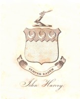 Bookplate of John Harvey, Sempter Eadem.