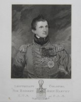 Engraving of Lt Col Sir Robert John Harvey 1785-1860