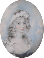 Miniature portrait of Eliza Heath nee Thomas painted around 1780 by Henry Jacob Burch.  Click for more detail
