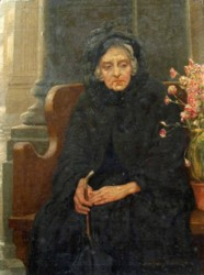 Portrait of an elderly lady titled 'Memories' Painted by Ernest Dudley Heath Artist and Author 1867-1945