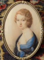 Miniature portrait of Jean Heath 1913-2000 painted by Lionel Heath