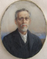 Miniature portrait of a Man Wearing Specticales painted by the artist Henry Charles Heath in 1910