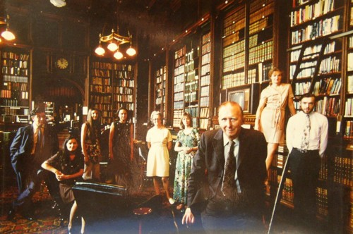 Photo of David Cuthbert Lyall Holland and the staff at the House of Commons Library, Westiminster.