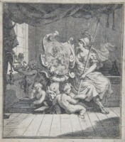 Bookplate of John Holland by Hogarth. Click for larger image