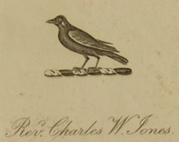 Bookplate of Rev Charles William Jones (18??-1906) who married Barbara Rose Weale (1833-1921).