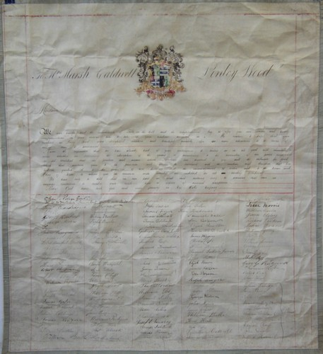 Scroll given to Anne Marsh Caldwell in 1860 from the tenants of the Linley Wood estate, Talke, Staffordshire.