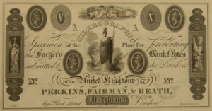 Specimen banknote printed by Perkins Fairman and Heath.