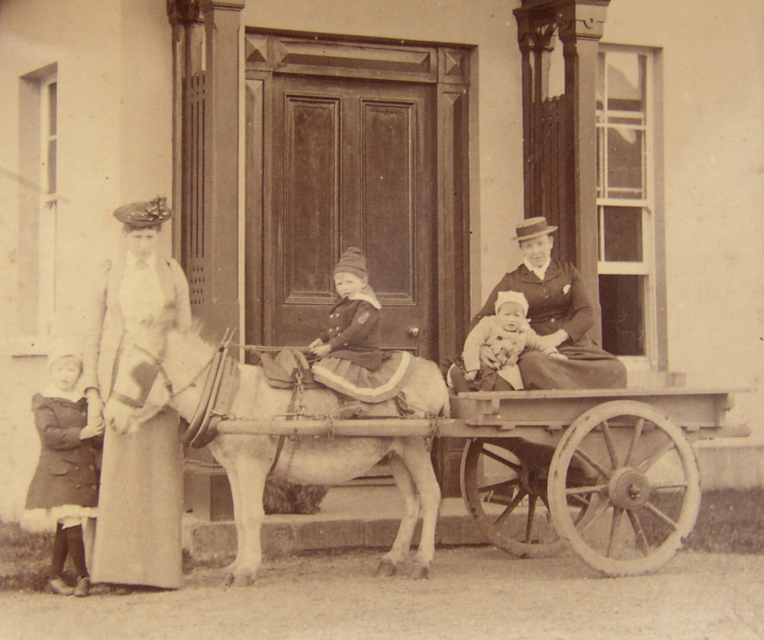 Ada Randolph Broadwood with three of her children (Marion, Stewart, Leopold) At Broadwood House, County Wicklow, Ireland. Believed to be 1892.