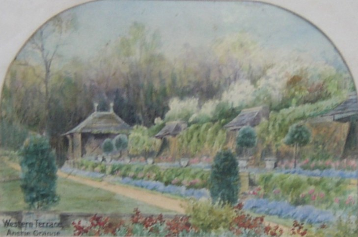 Water colour of the Western Terrace at Anstie Grange Holmwood Surrey home of Admiral Sir Leopold George Heath believed to have been painted in the late 1800s or early 1900s.
