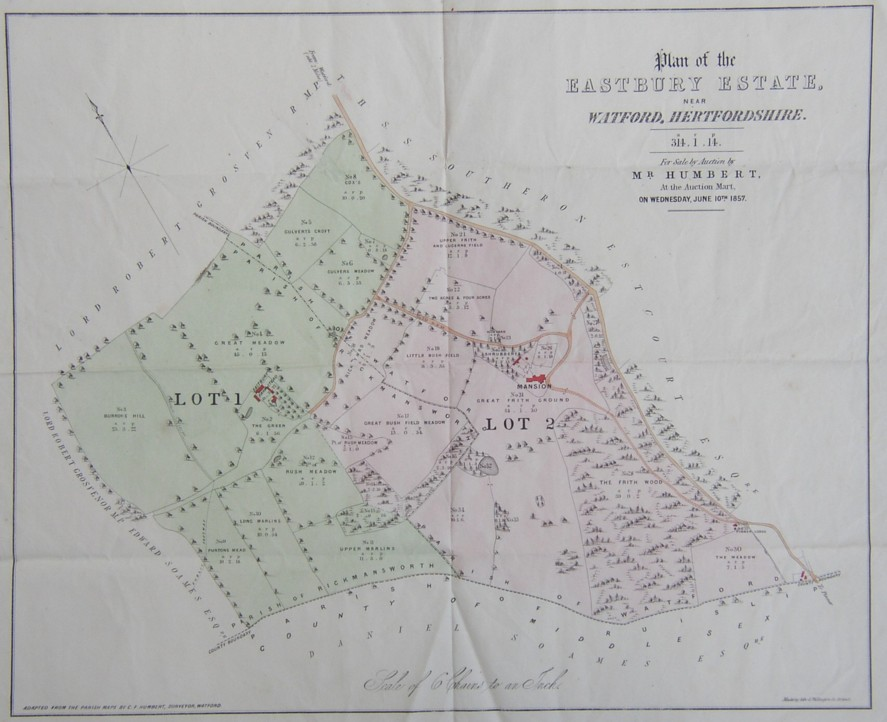 Plan map of the Eastbury Estate near Watford Hertfordshire sold by Mr Humbert in 1857. Family home of Arthur Marsh and Anne Marsh Caldwell. Bought by Mr Carnegie of Stanmore, Perthshire.