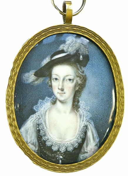 Miniature portrait of Lady Gower nee Elizabeth Fazakerley painted by the artist Gervase Spencer 1715?-1763 painter based in London