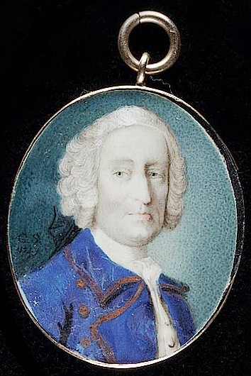 Miniature portrait of an unknown Gentleman painted by the artist Gervase Spencer 1715?-1763 painter based in London