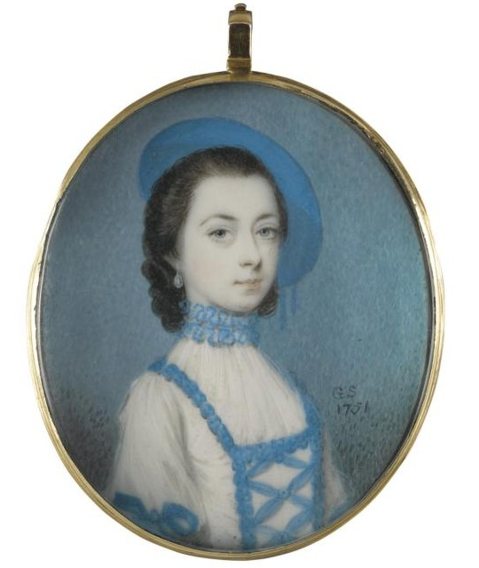 Miniature portrait of an unknown Lady painted by the artist Gervase Spencer 1715?-1763 painter based in London