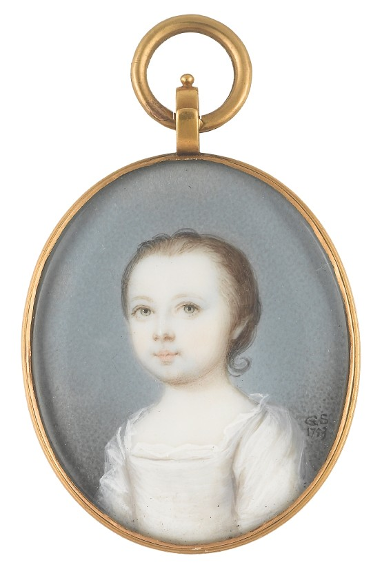 Miniature portrait of an unknown child painted by the artist Gervase Spencer 1715?-1763 painter based in London