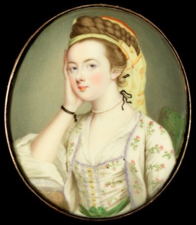 Miniature portrait of Susannah Beckford née Love died 1803 painted by the artist Gervase Spencer 1715?-1763 painter who lived in London