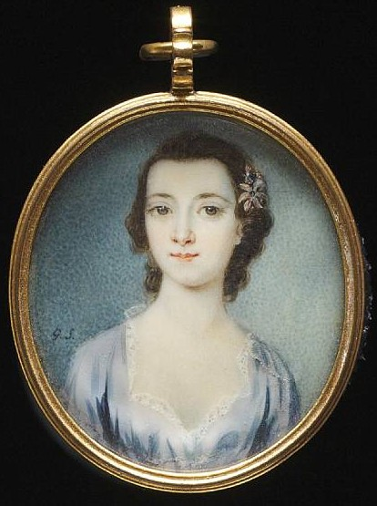 Miniature Portrait of an unknown Lady painted by the artist Gervase Spencer 1715?-1763 painter of London