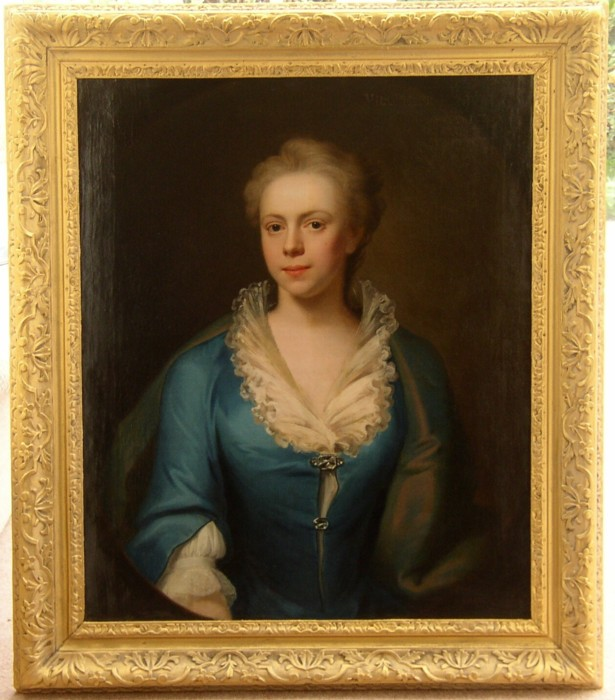 Portrait of Elizabeth Harvey nee Blyford of Norwich, Norfolk, 1718?-1741. Dated on the front 1738. Painted by  John Theodore Heins (1697-1756) Note on the back saying painted by Haynes