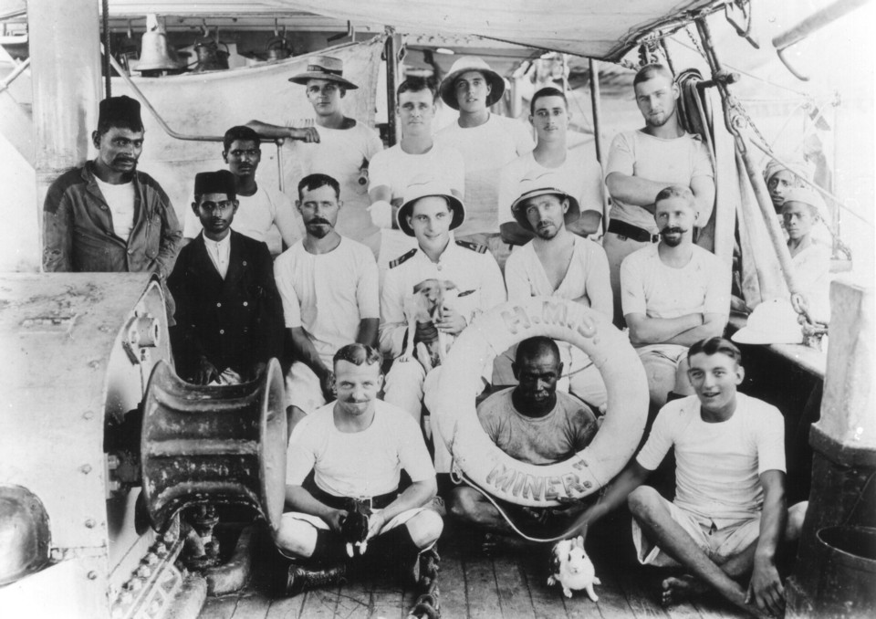 The Crew of the Royal Navy Gun Boat HMS Miner at Muscat in Oman around 1913