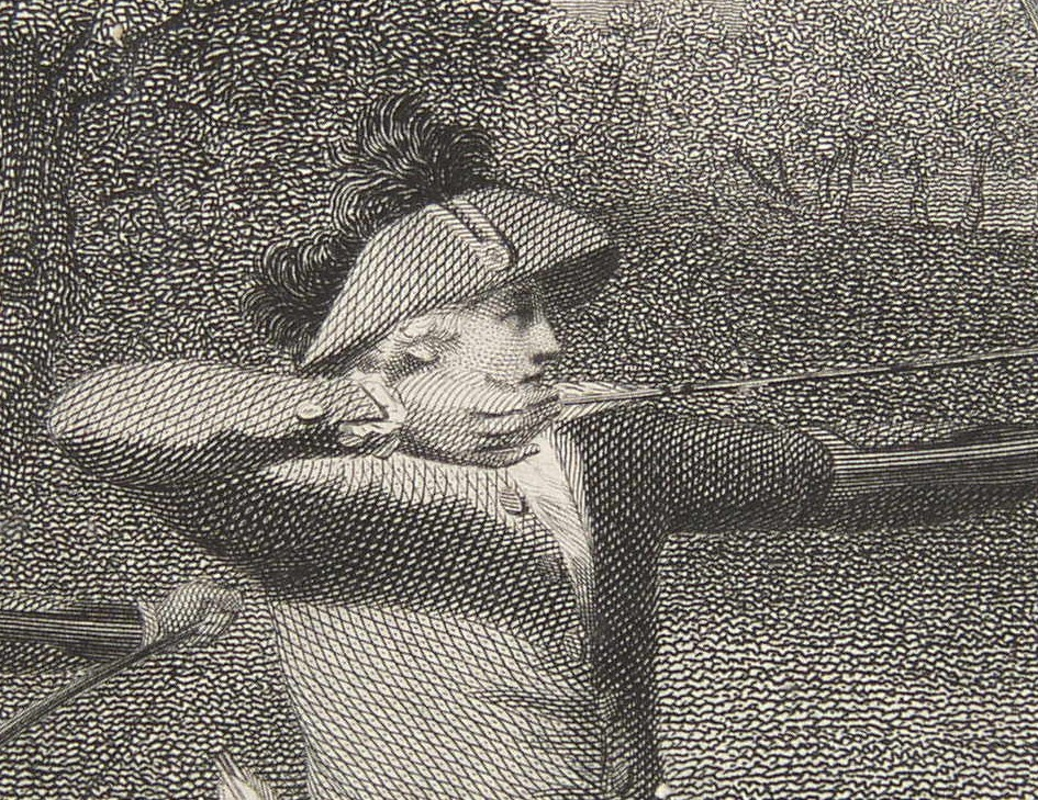 Detail from the engraving of Archery at Blackheath from the painting by the artist Joseph Slater.  Engraved by the engraver James Heath ARA and published 2 March 1789 by the promoter J Slater of Kennington Row, Lambeth.