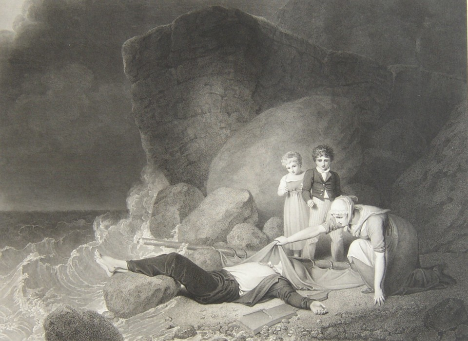 The Drowned Fisherman or The Moment of Suspense Painted by the artist Richard Westall RA and engraved by the engraver James Heath RA.  Published 1 February 1820