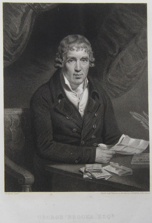 Portait of George Brookes. Engraved by the engraver James Heath from a painting by Woodforde.  Engraving irca 1801.