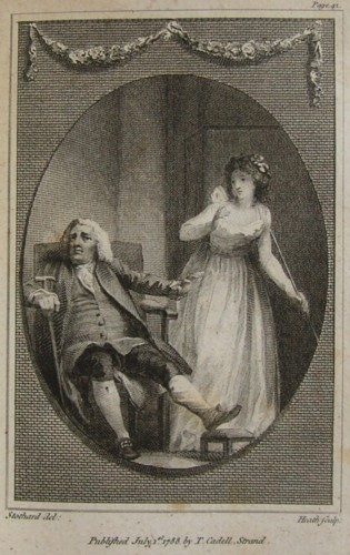 Illustration from The Triumps of Temper by the author William Hayley. Drawn by the artist Thomas Stothard RA and engraved by James Heath ARA engraver 1788