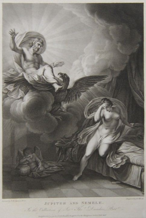 Engraving of Jupiter and Semele from the drawing by the artist Giovanni Batista Cipriani R.A.  Engraved by the engraver James Heath ARA.  Published by J & J Boydell in 1792