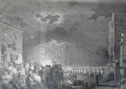 The Riot in Broad Street Engraved by James Heath after the picture painted by Francis Wheatley. 1790.