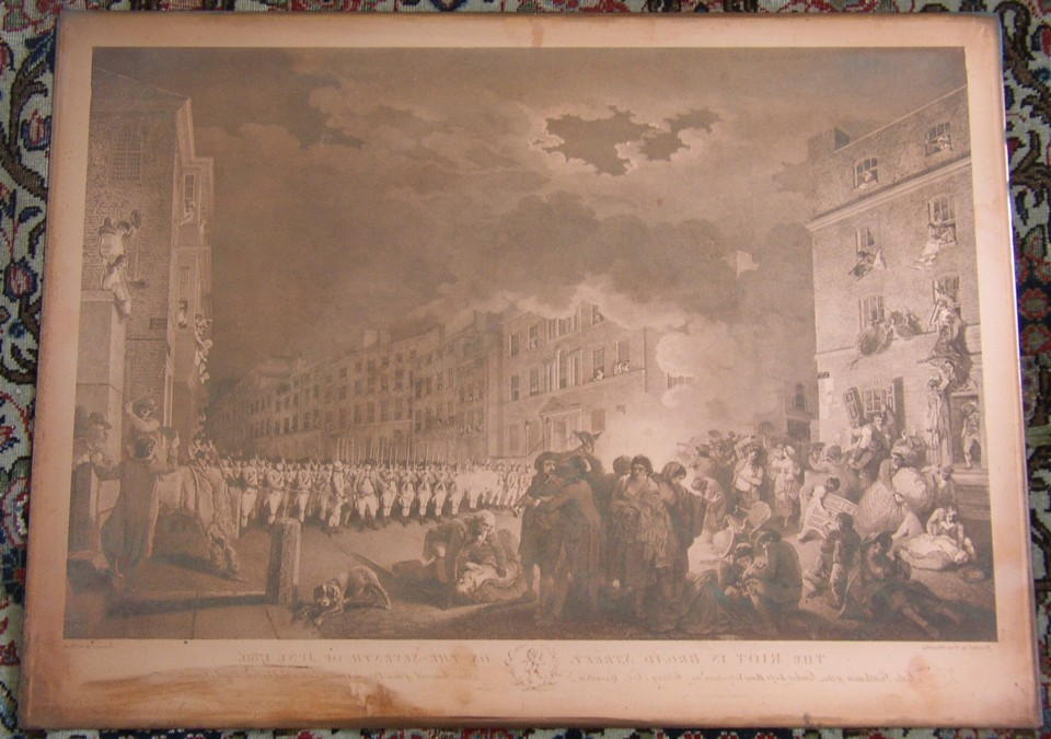 Copper plate engraving for The Riot in Broad Street Engraved by James Heath after the picture painted by Francis Wheatley. 1790.