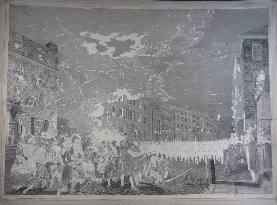 Riot In Broad Street engraving 1791 engraved by James Heath after the painting by Francis Wheatley